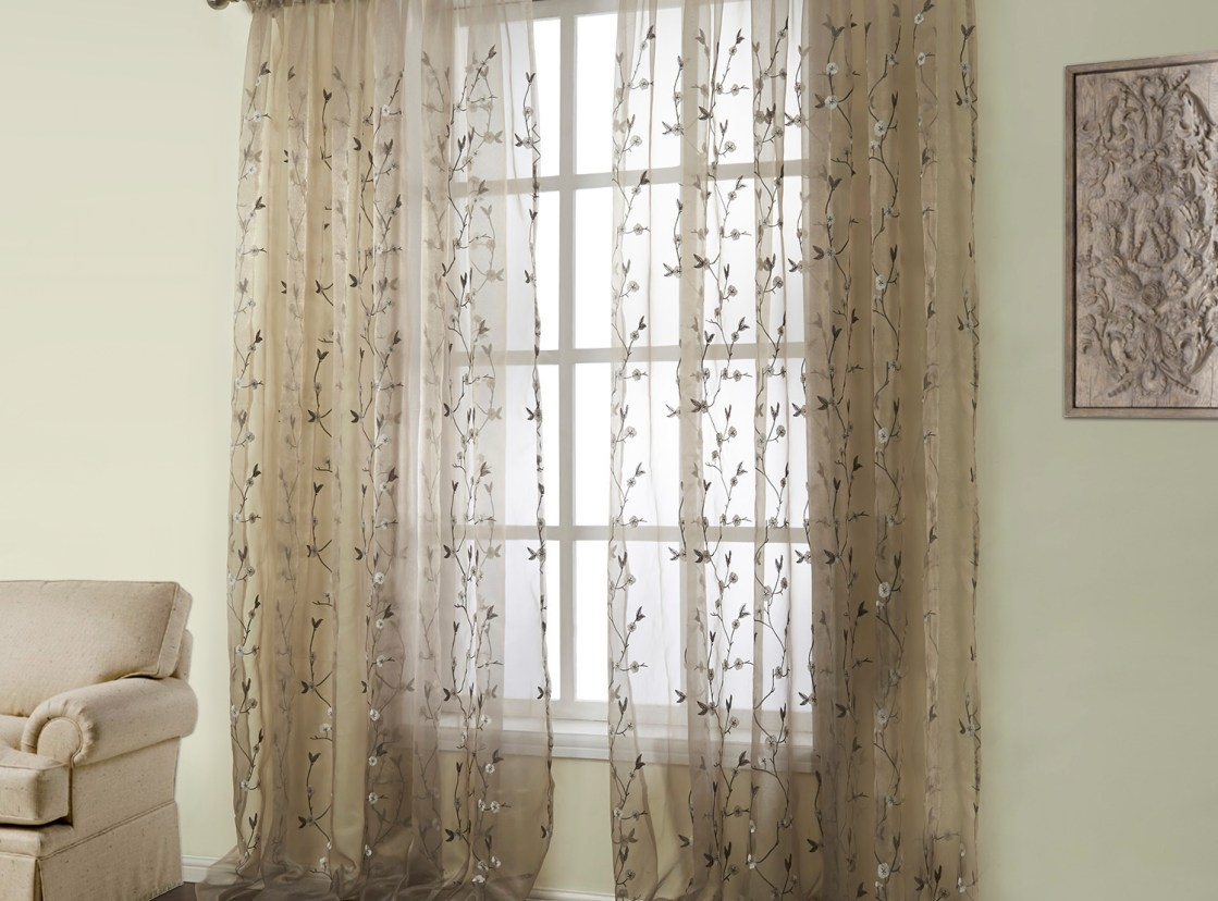 Curtains Fearsome Brown Sheer Grommet Curtain Uncommon Pink And Throughout Short Brown Curtains (Image 8 of 25)
