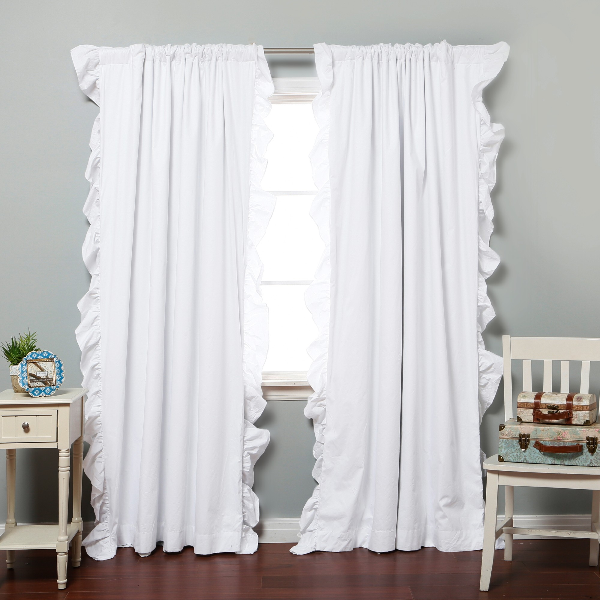 Curtains Inspiring Ruffle Curtains For Home Decoration Ideas Throughout Sheer White Curtain Panels (Image 5 of 25)