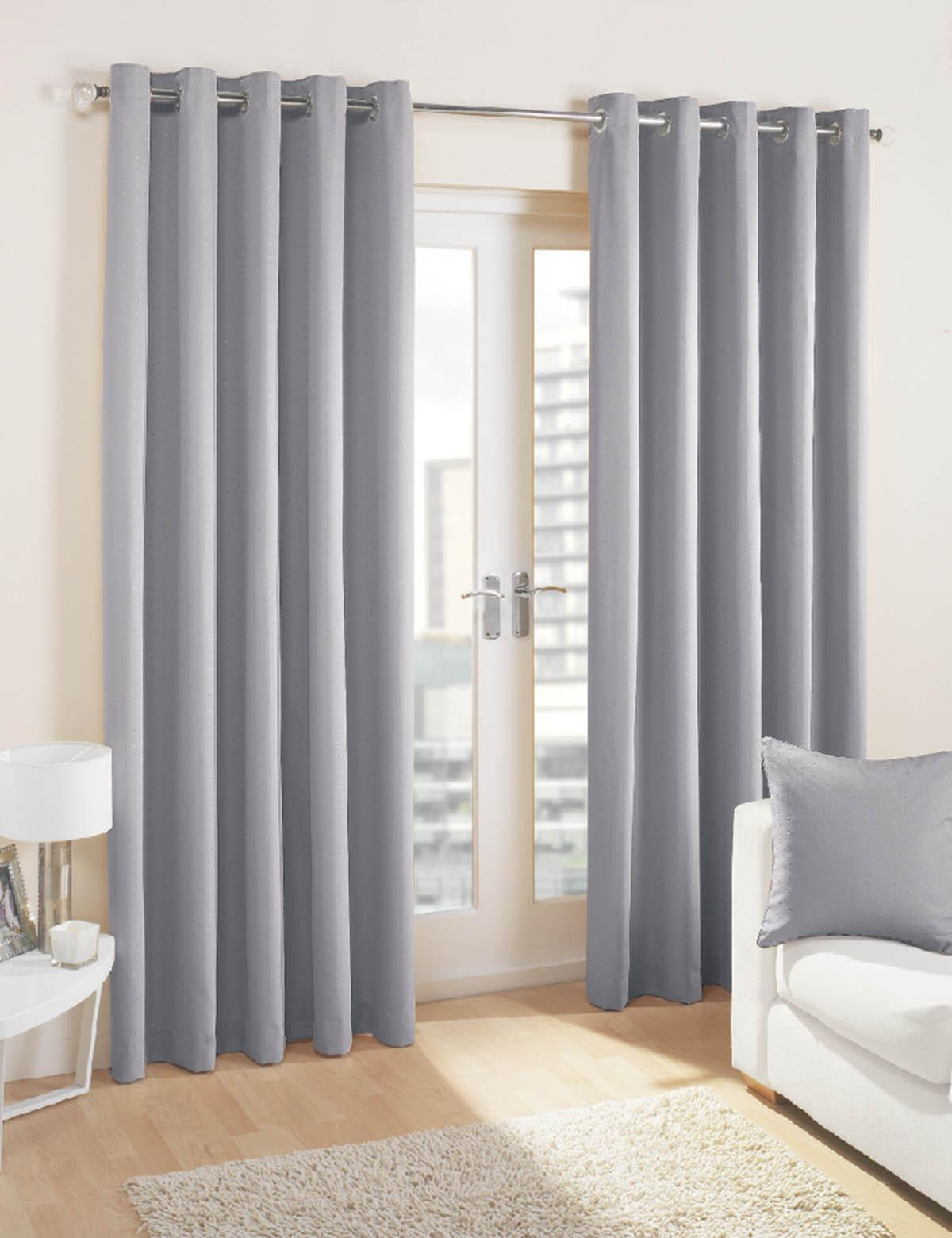 Curtains Midtown Eyelet Lined Curtains Silver Stunning Grey Inside Grey Eyelet Curtains (Image 4 of 25)