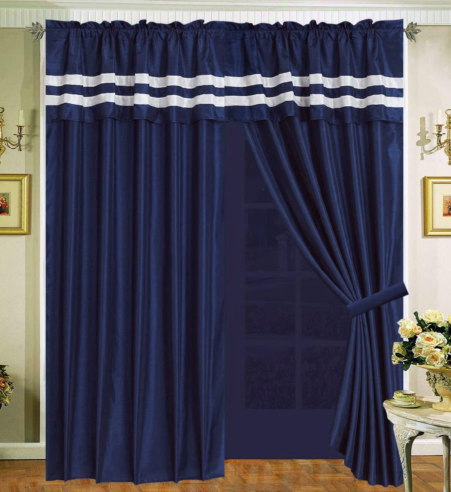 Curtains Navy Blue And White Curtain Menzilperde Intended For Navy And White Curtains (Image 4 of 25)