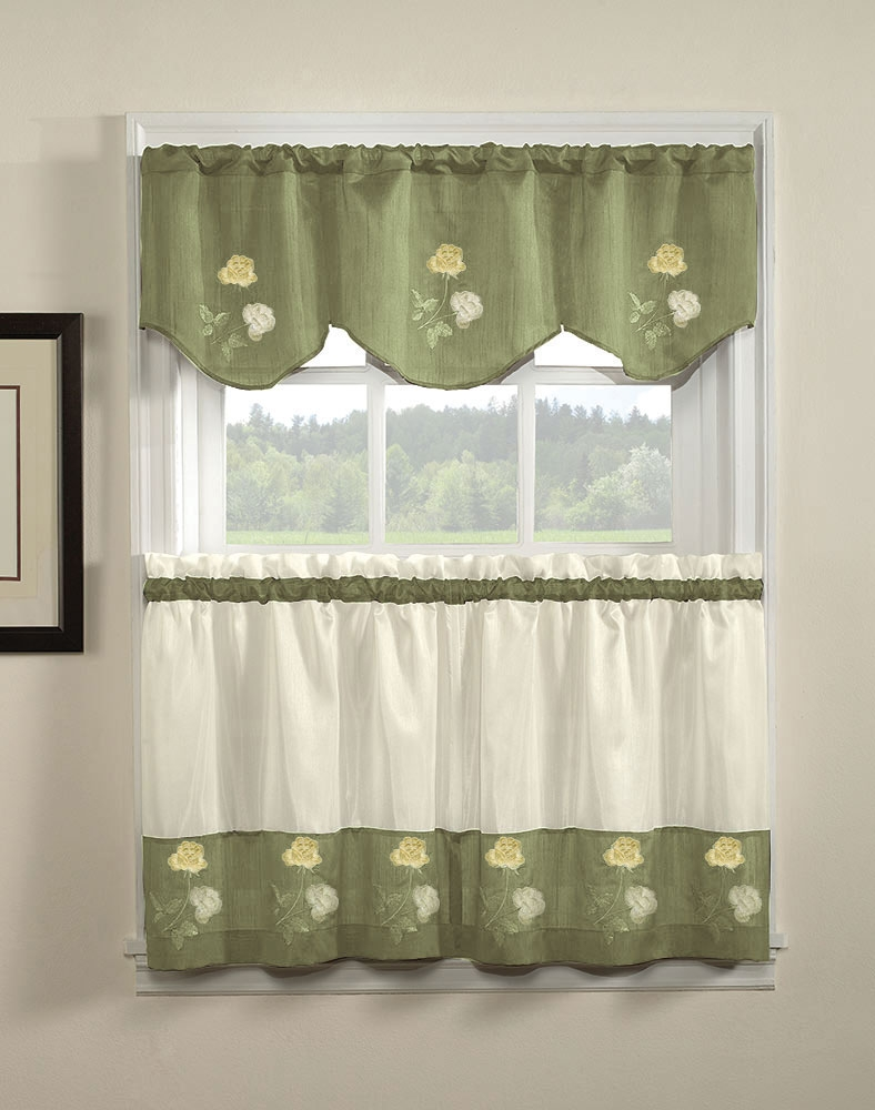 Curtains Sage Green Kitchen Decor Inside Image