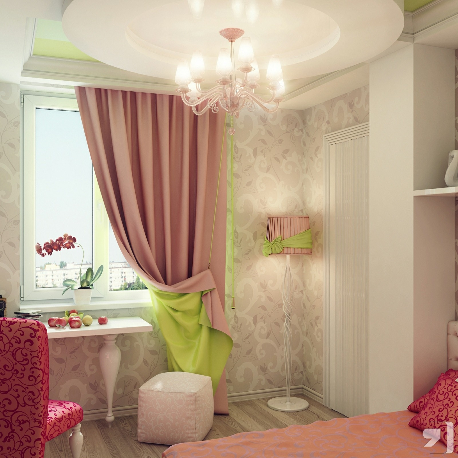 Curtains White And Pink Curtains Ideas Beautiful For Girls Bedroom Intended For Bedroom Curtains For Girls (View 17 of 25)