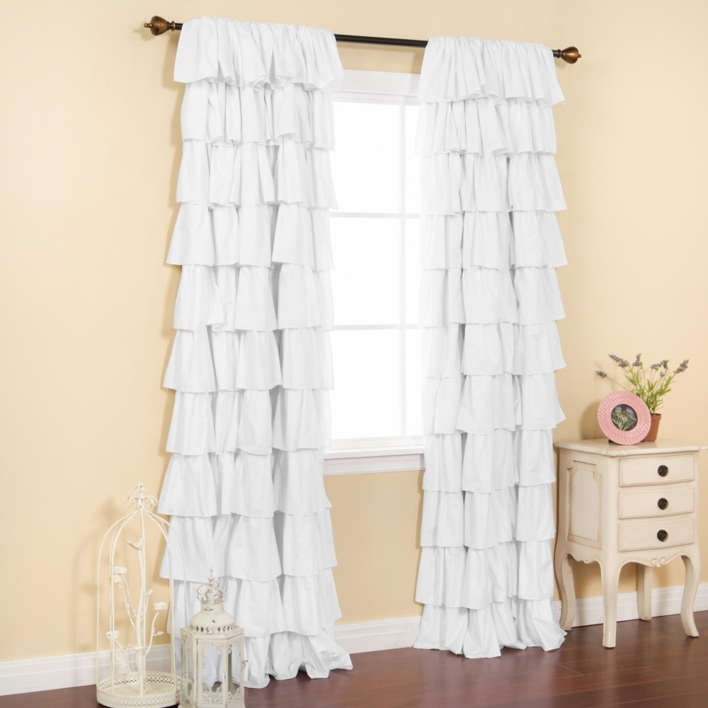 Curtains White Ruffle Curtain Panel Shower Curtain Ruffle In White Ruffle Curtains (View 9 of 25)