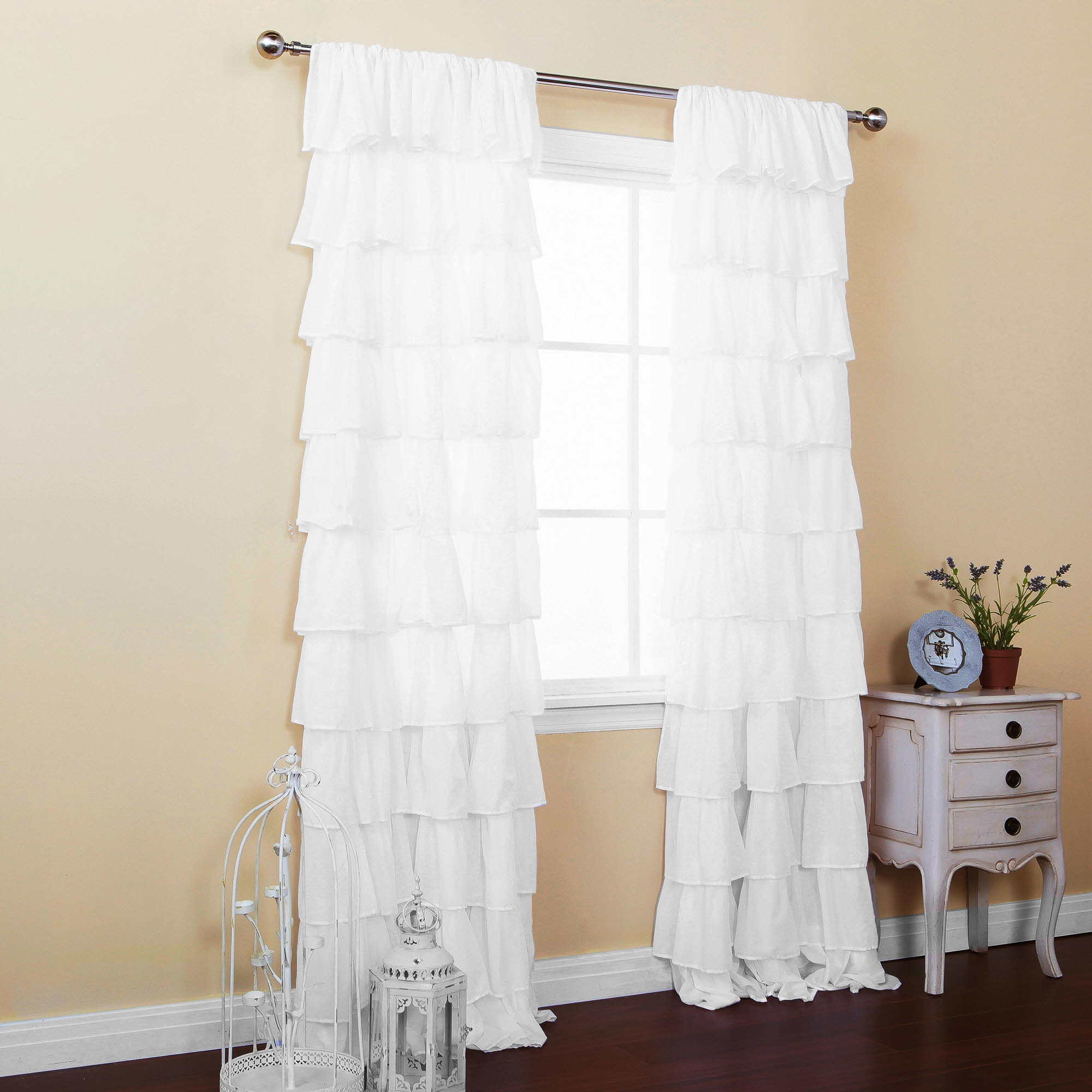 Curtains White Ruffle Curtain Panel Shower Curtain Ruffle Within White Ruffle Curtains (View 16 of 25)