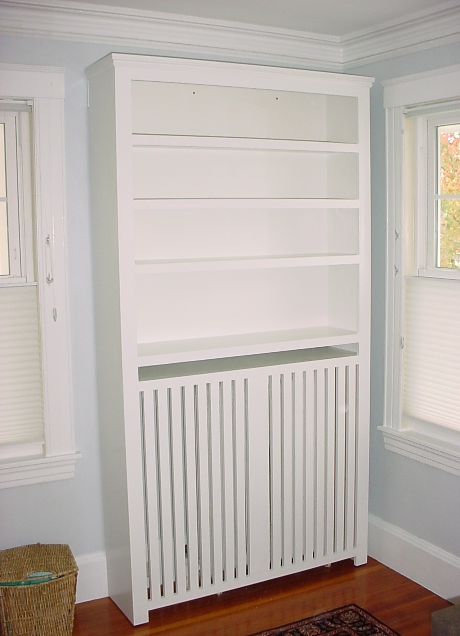 Custom Furniture Radiator Cover Bookcase In White Paint Within Radiator Bookcase Cabinets (Image 5 of 15)