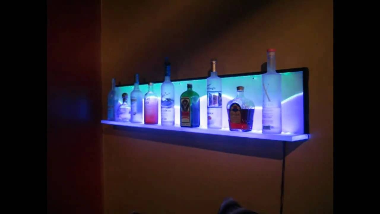 Custom Led Floating Wall Shelf Youtube With Regard To Led Floating Glass Shelves (Image 1 of 15)