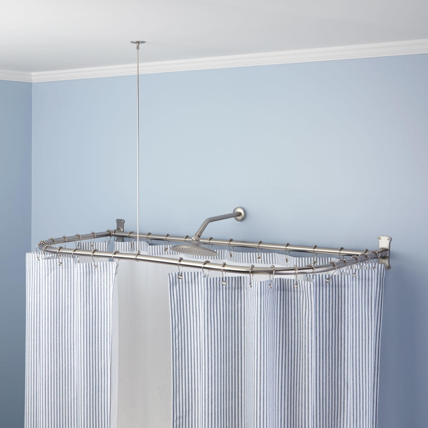 D Shaped Brass Solid Brass Shower Curtain Rod Bathroom With L Curtain Rods (Image 6 of 25)