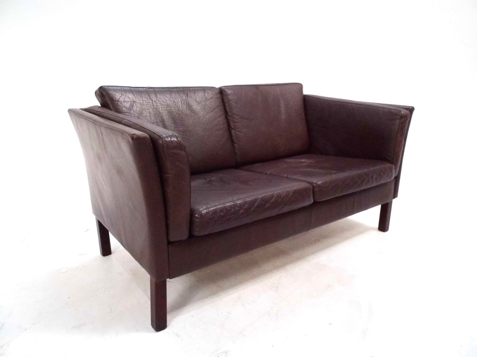 Danish Dark Brown Leather Two Seater Sofa 1960s For Sale At Pamono Intended For Two Seater Sofas (Image 9 of 15)
