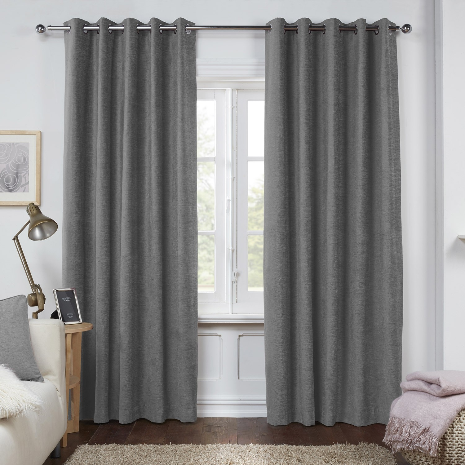 Dante Charcoal Grey Luxury Soft Chenille Lined Eyelet Curtains For Grey Eyelet Curtains (Image 5 of 25)