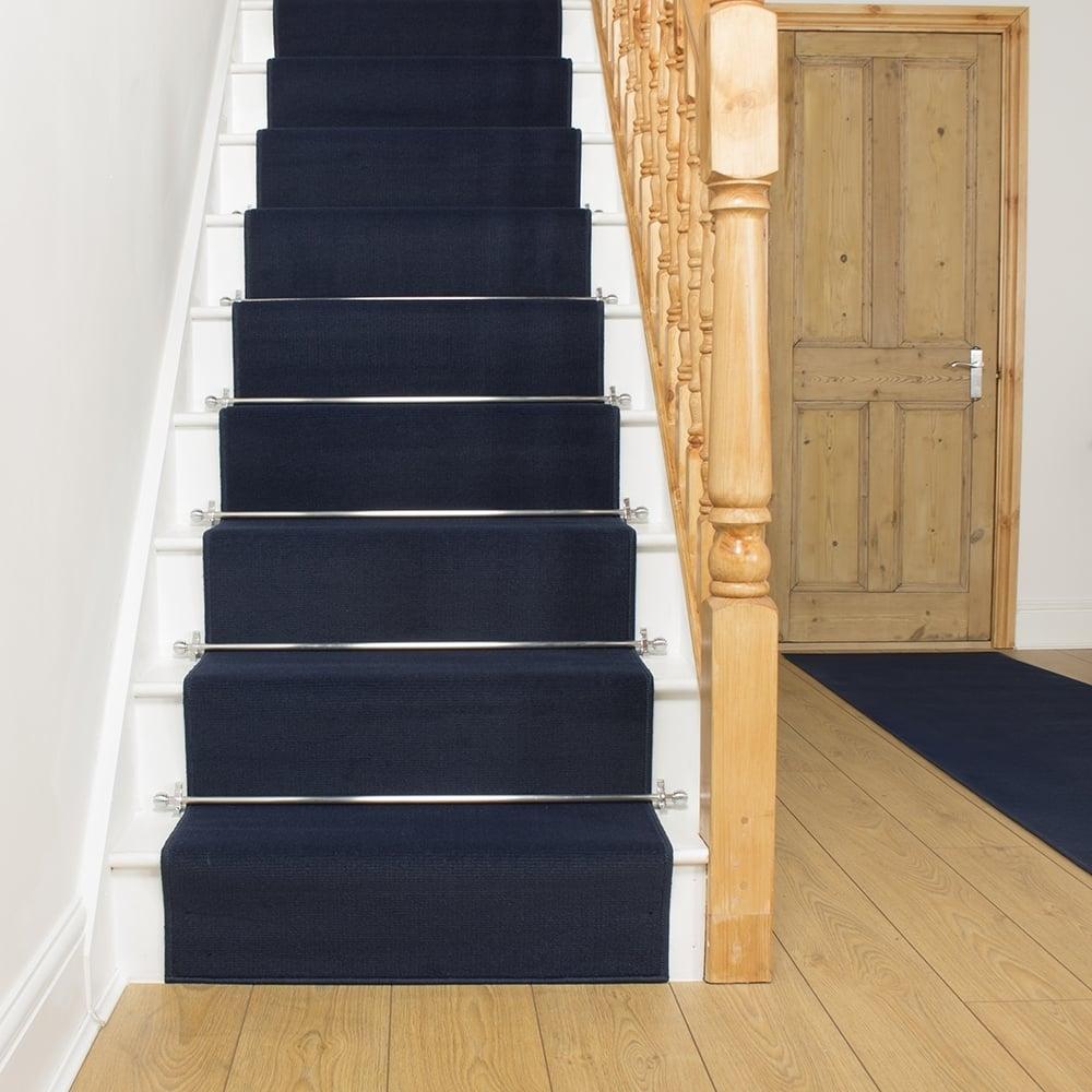 Dark Blue Stair Runner Plain Intended For Blue Carpet Runners (View 14 of 15)