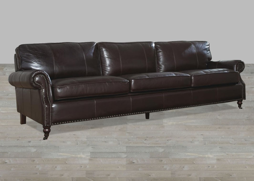 Dark Chocolate Leather Vintage 4 Seat Sofa With Regard To 4 Seat Sofas (Image 6 of 15)