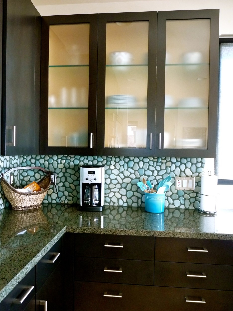 Dark Framed Glass Kitchen Cabinet Shelves Combined Chic Pebble Regarding Glass Kitchen Shelves (Image 3 of 15)