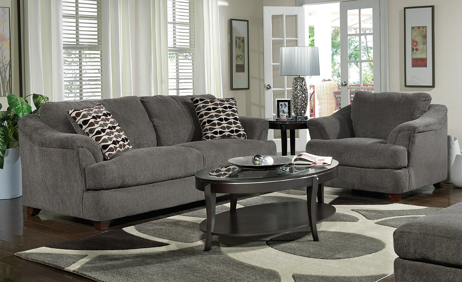 Dark Grey Living Room Furniture With Gray Sofa And Wooden Gray With Grey Sofa Chairs (Image 2 of 15)