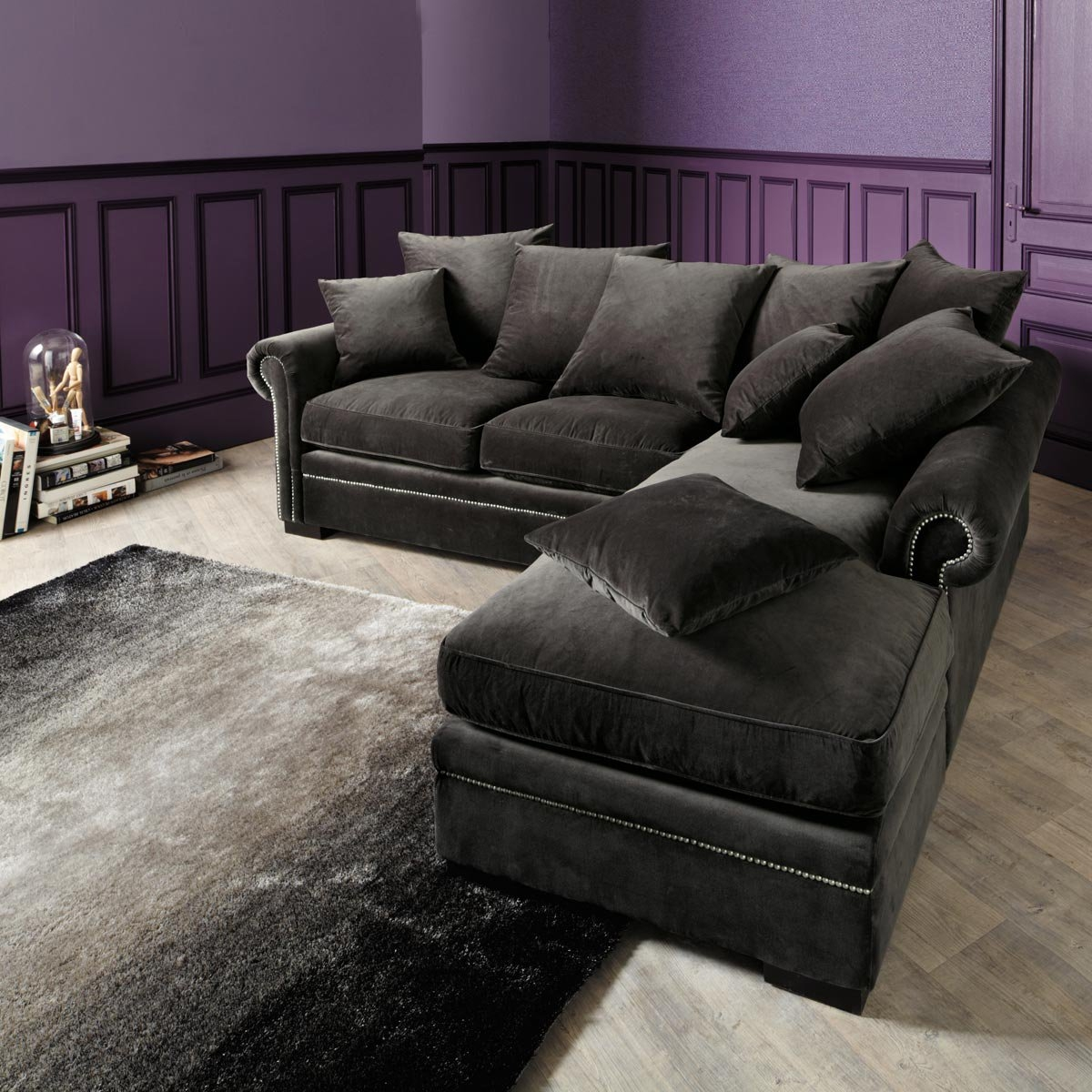 Dark Grey Sofa With Chaise Modern Sofas Within Charcoal Grey Sofa (Image 4 of 15)