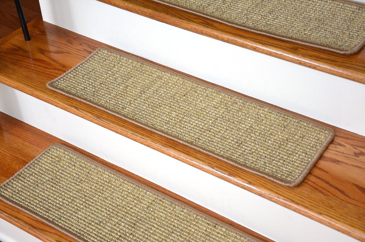 Dean Attachable Non Skid Sisal Carpet Stair Treads Desert Set With Basket Weave Washable Indoor Stair Tread Rugs (Image 7 of 15)