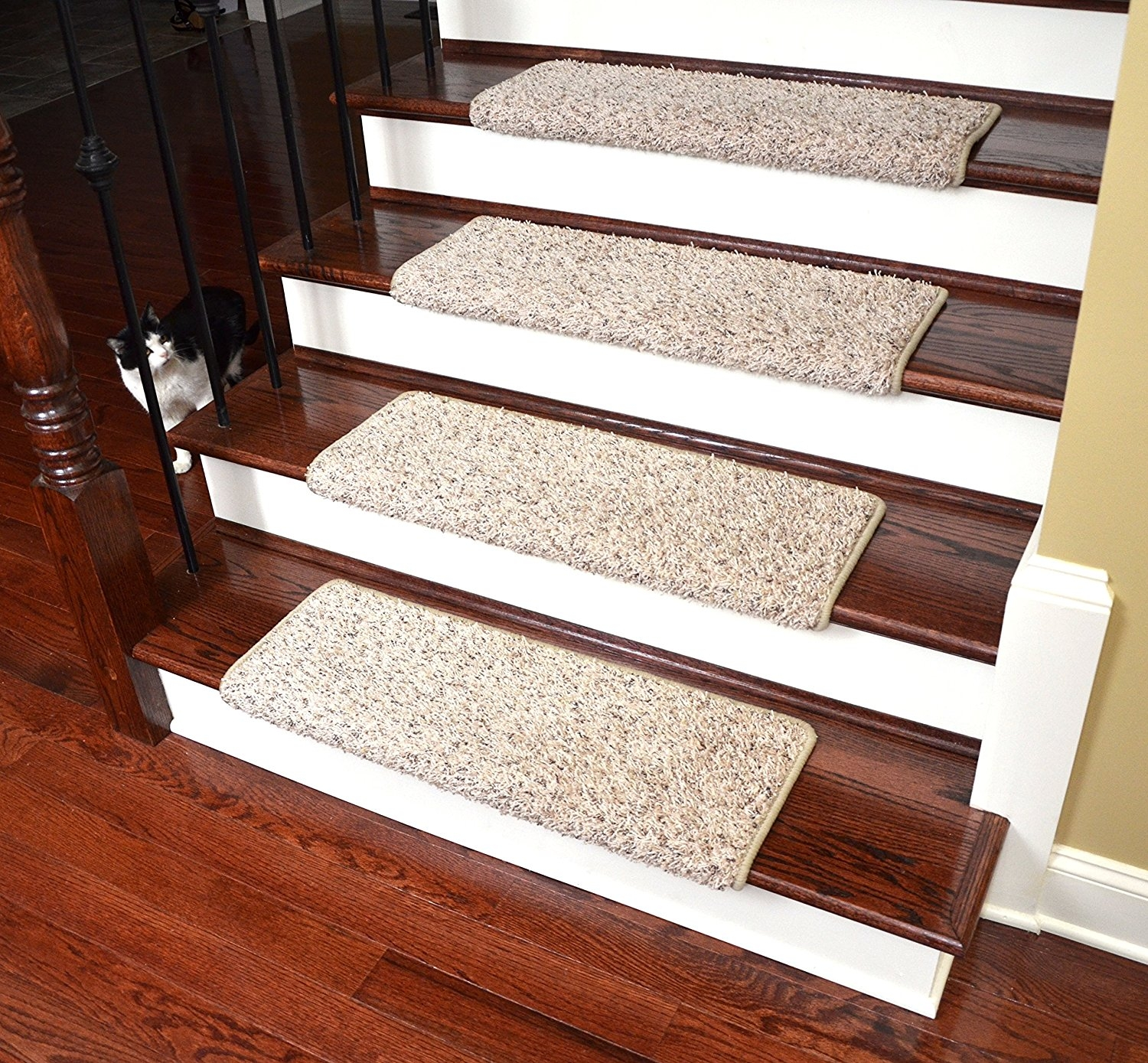Dean Modern Diy Peel Stick Bullnose Wraparound Non Skid Carpet Pertaining To Peel And Stick Carpet Stair Treads (Image 8 of 15)
