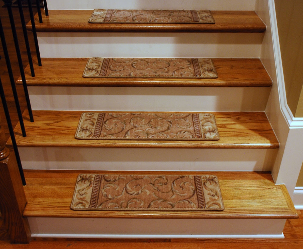 Decor Gorgeous Stair Treads Carpet Galleries With Best Top World Regarding Stair Tread Rug Pads (View 7 of 15)