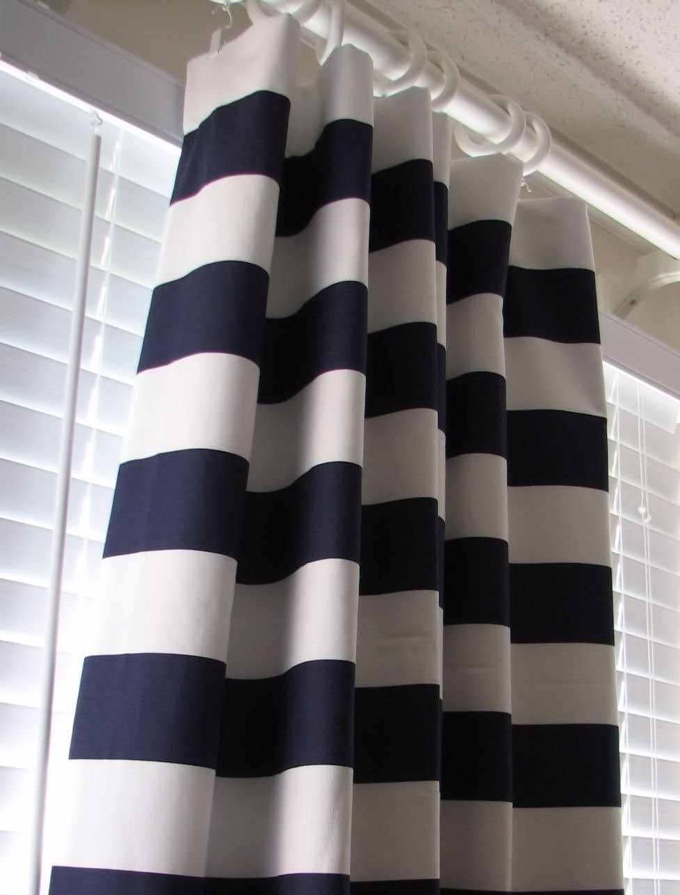 Decor Rug Stripe Curtains For Complete Your Home Decor Project In Navy And White Curtains (Image 7 of 25)
