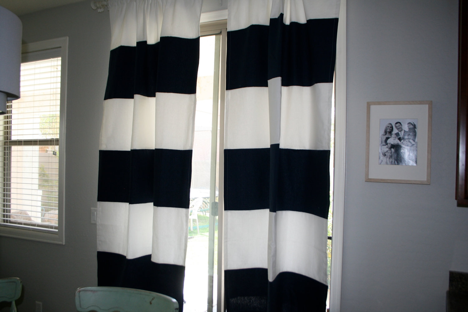 Decor Rug Stripe Curtains For Complete Your Home Decor Project With Navy And White Curtains (Image 8 of 25)