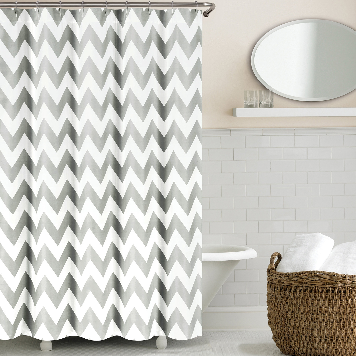 Decorating Appealing Interior Home Decor With Elegant Gray In Gray Chevron Shower Curtains (Image 6 of 25)