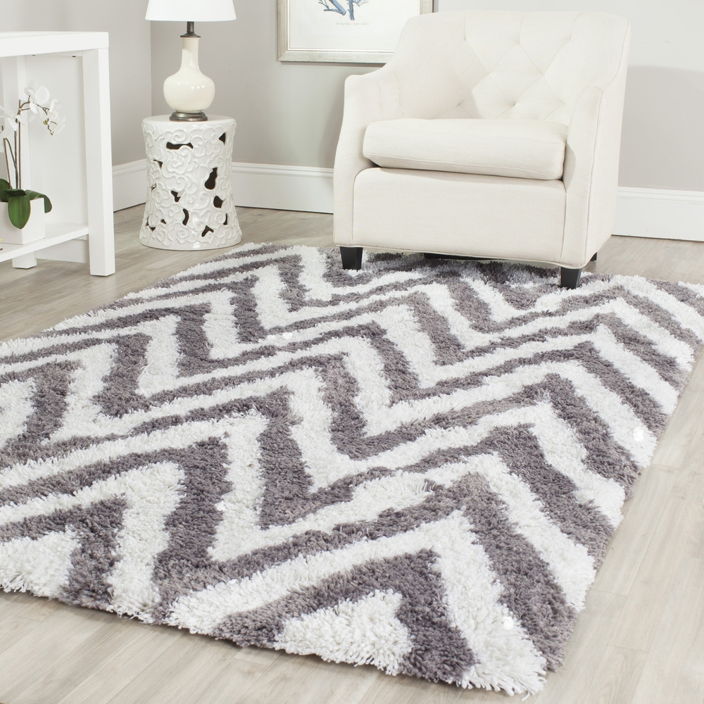 Decorating Ideas Contempo Accessories For Living Room Decoration Using Rectangular Zigzag Wool Grey Chevron Rug Including Tufted White Leather Wing Living Inside Light Grey And White Rugs (Image 2 of 15)