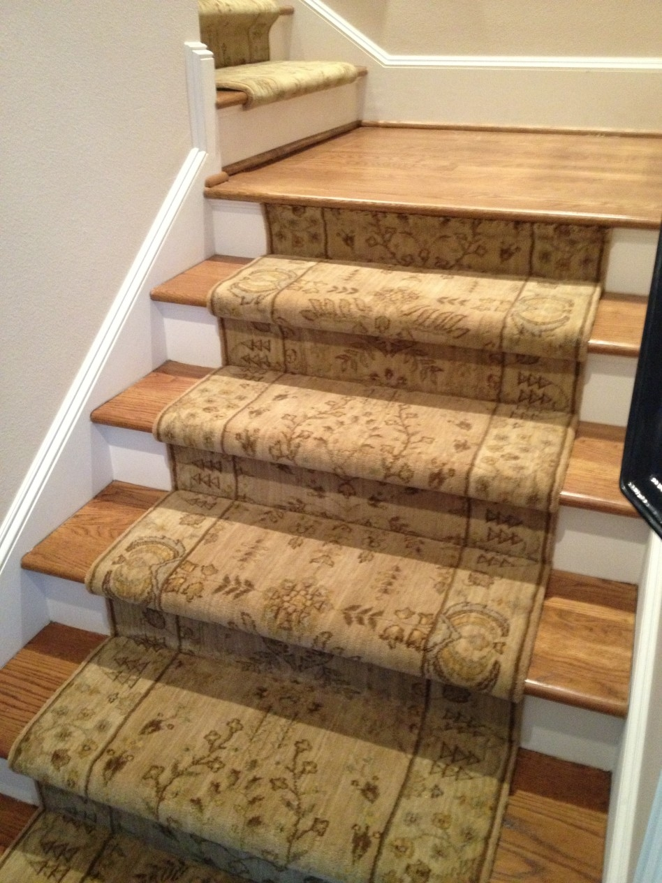 Decoration Carpet Runner Motive And Site Finished Stair Treads For Fabric Stair Treads (Image 6 of 15)
