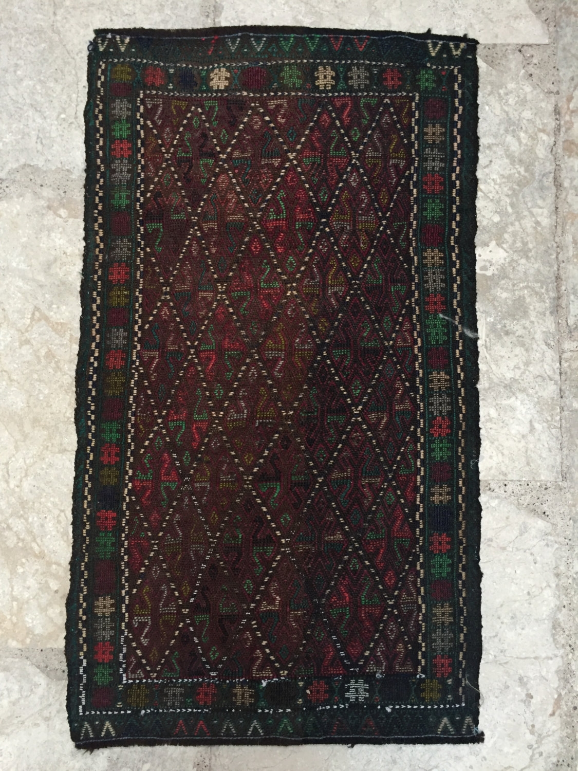 Deep Rich Red And Emerald Small Turkish Mat Emilys House London For Small Red Rugs (Image 2 of 15)