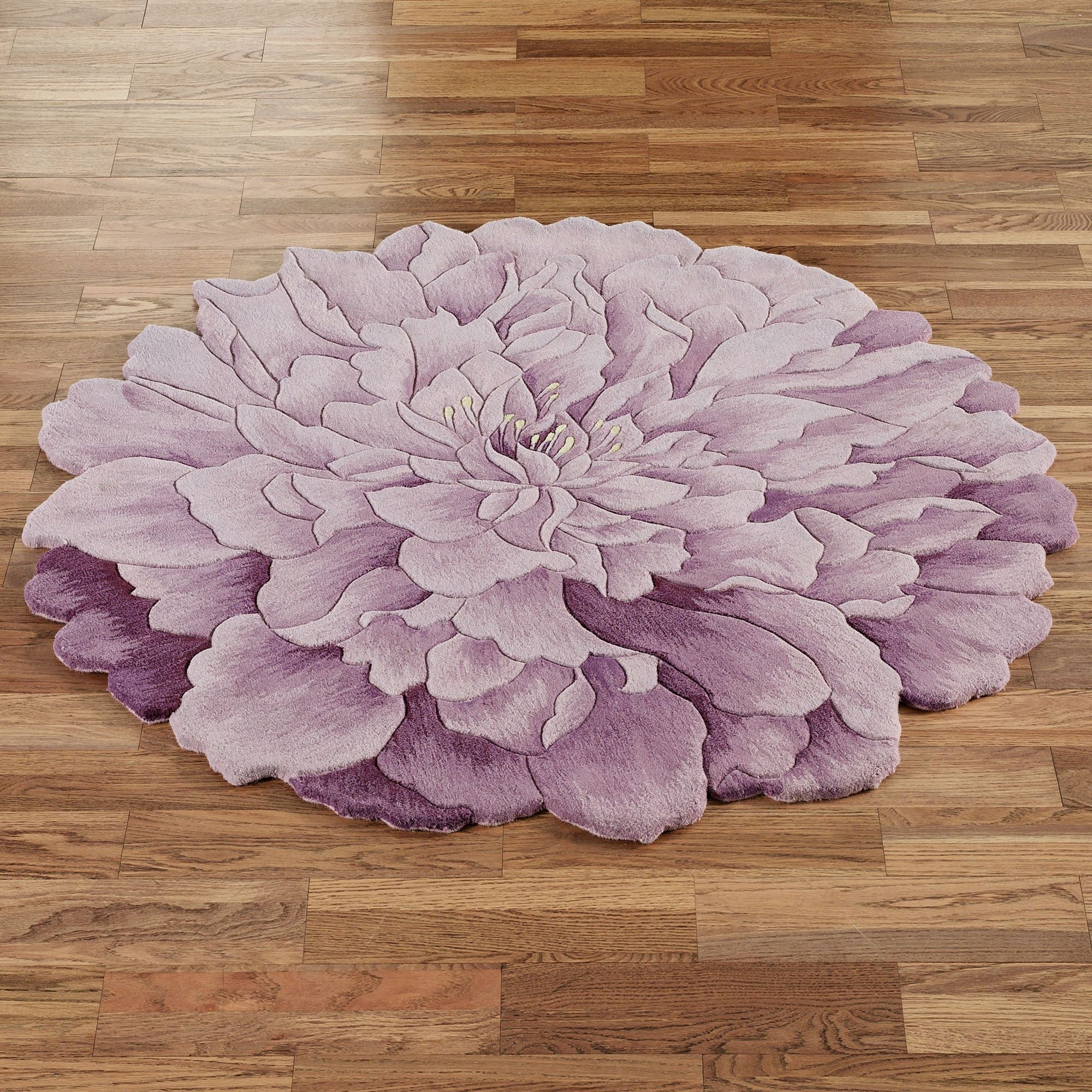 Delia Bloom Flower Shaped Round Rugs With Regard To Lilac Rugs (Image 1 of 15)