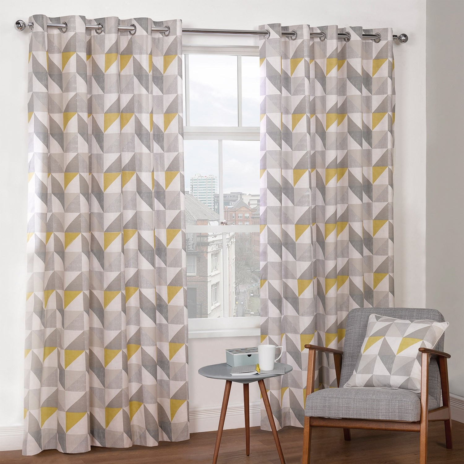 Delta Grey Yellow Luxury Lined Eyelet Curtains Pair Julian For Grey Eyelet Curtains (Image 6 of 25)