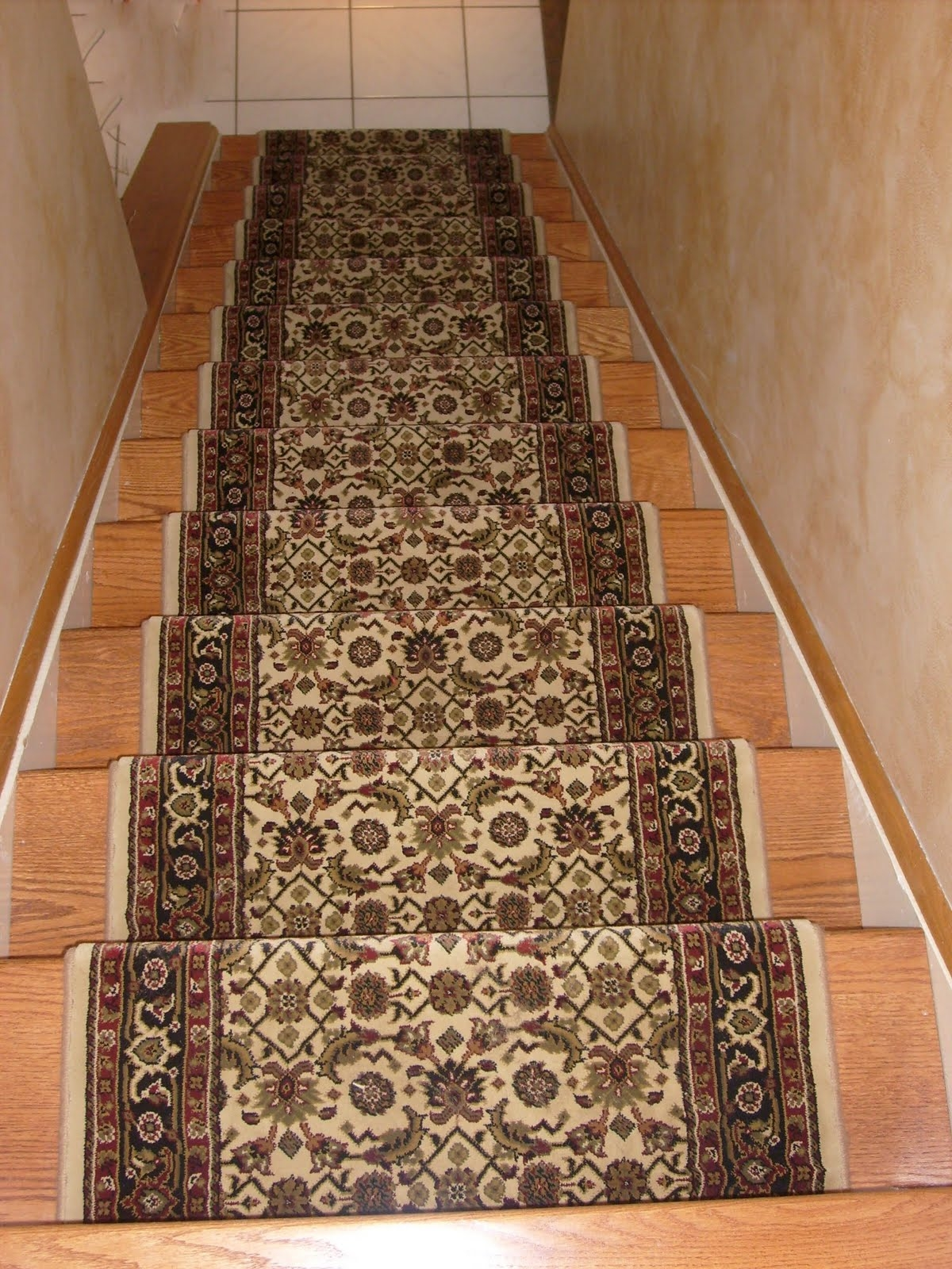 Designer Oriental Floral Carpet Runner For Stairs On Wooden Foot Throughout Stair Tread Carpet Runners (Image 9 of 15)