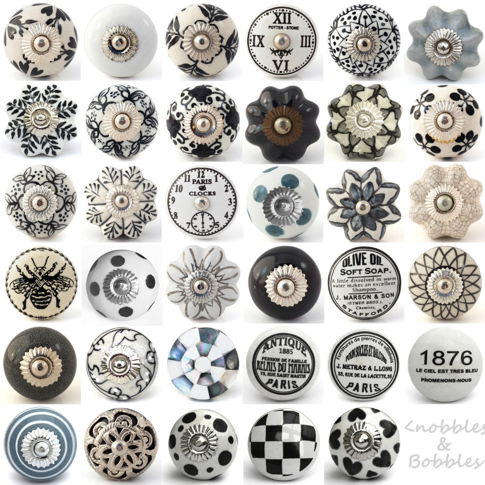 Details About Black White Grey Vintage Ceramic Knobs Drawer Pull In Porcelain Cupboard Knobs (Image 13 of 25)