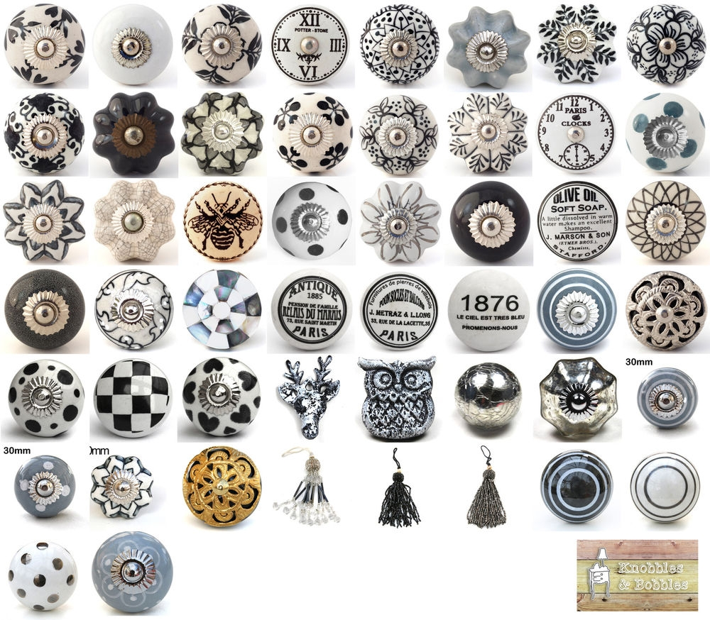 Details About Black White Grey Vintage Ceramic Knobs Drawer Pull Within Porcelain Cupboard Knobs (Image 14 of 25)