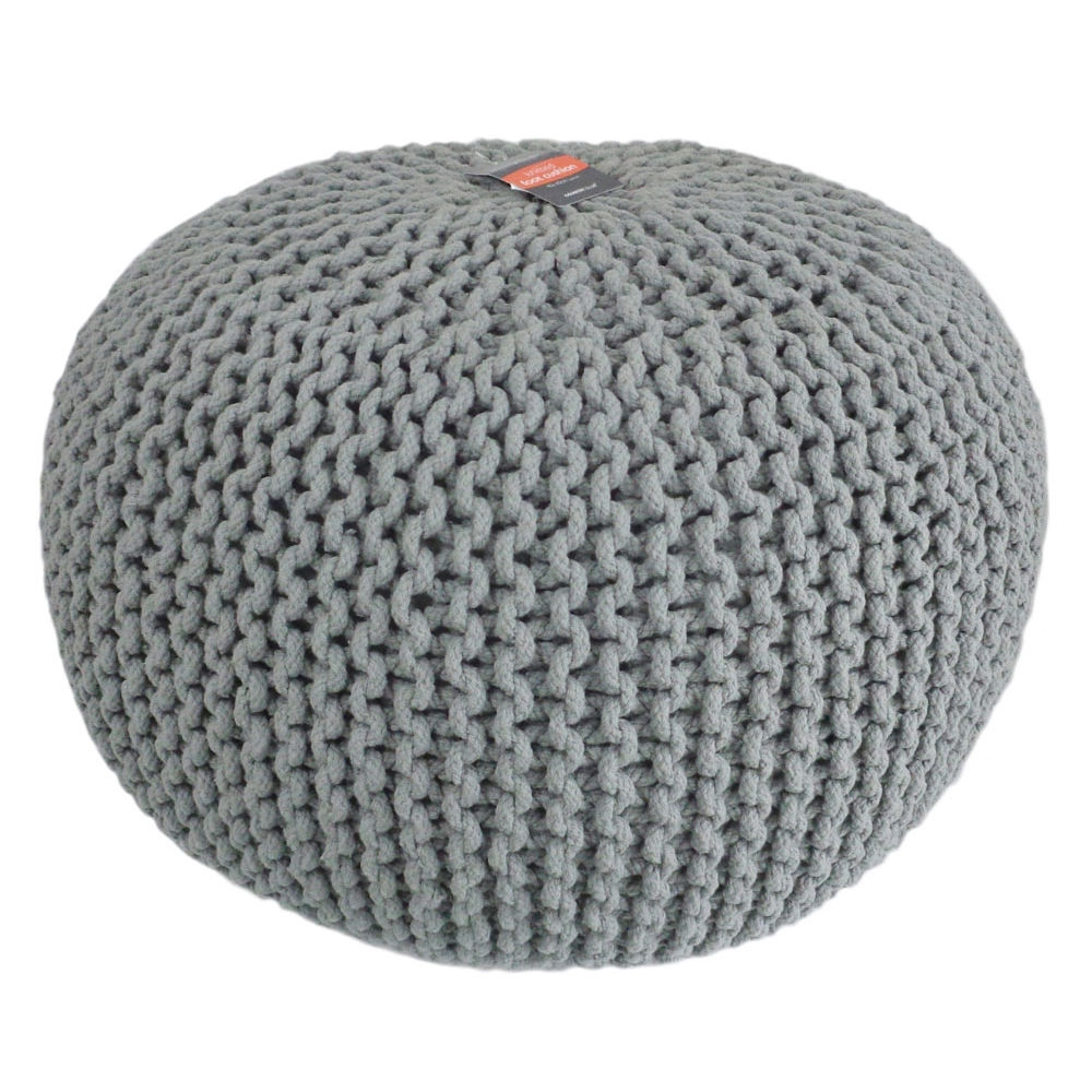 Details About Knitted Pod Footstool Seating Soft Lounge Pouffe Regarding Tesco Footstools And Pouffes (Photo 7 of 15)
