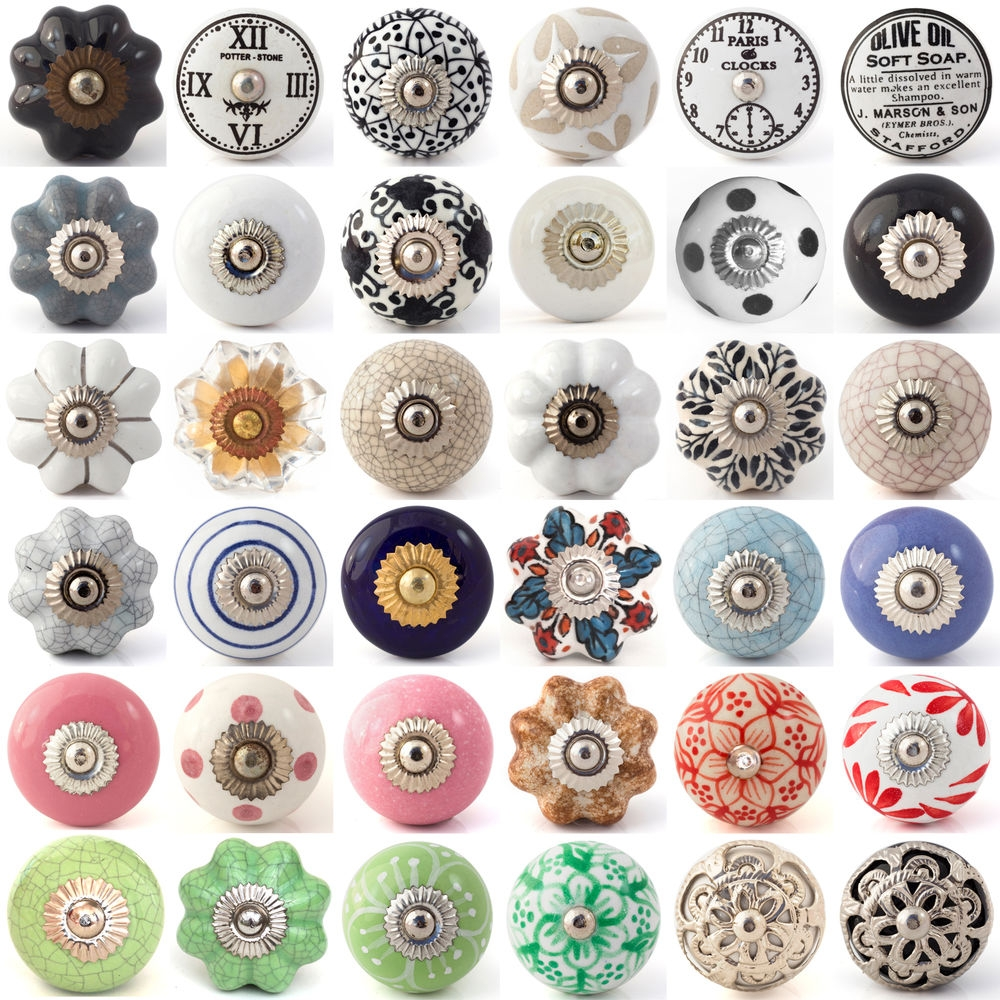 Details About Multi Coloured Ceramic Knobs Drawer Pull Cupboard Inside Porcelain Cupboard Knobs (Image 15 of 25)
