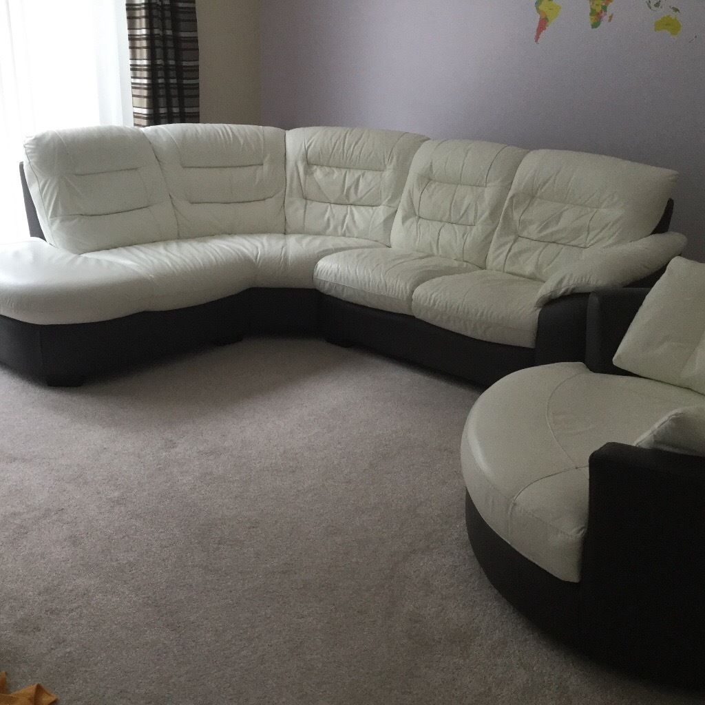 Dfs Ripple Leather Corner Sofa And Swivel Chair In Bearsden For Corner Sofa And Swivel Chairs (Image 13 of 15)