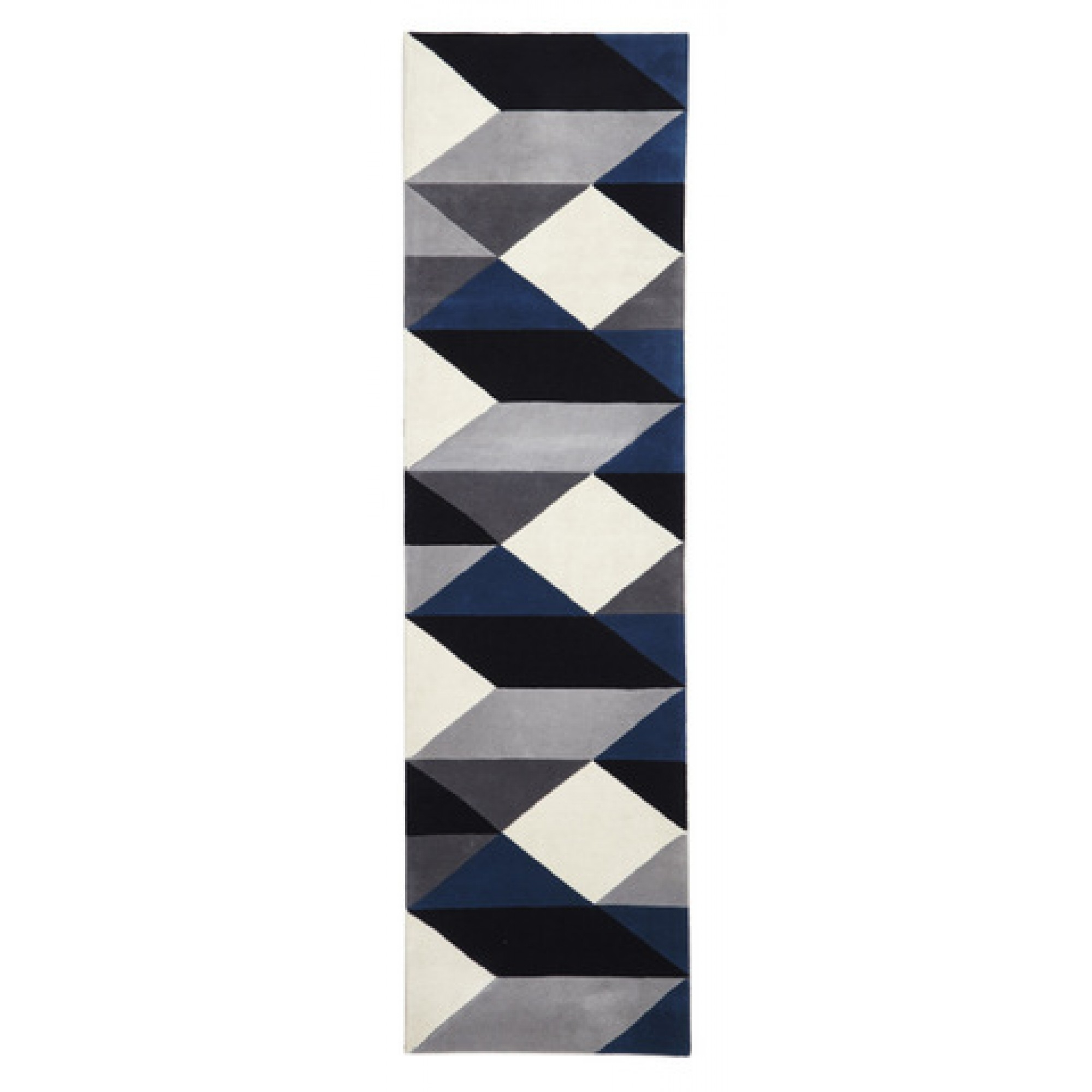 Digital Designer Wool Rug Blue Grey White Free Shipping Australia Pertaining To Wool Hall Runners (Image 2 of 15)