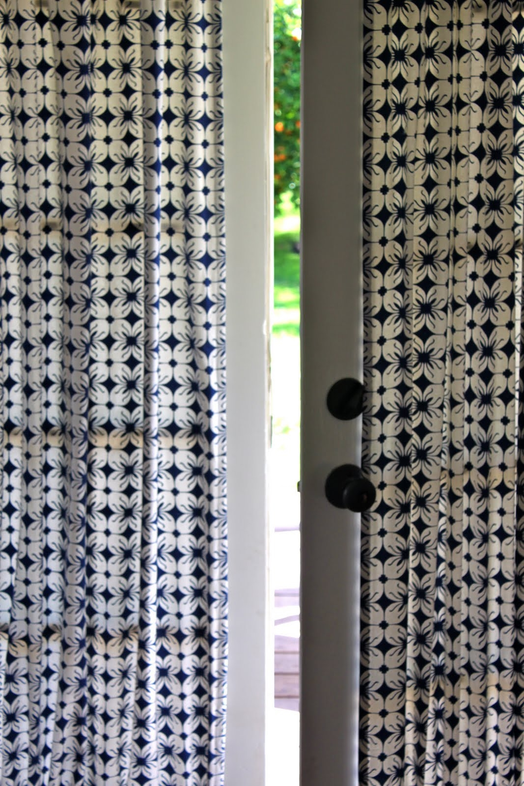 Diy French Door Curtain Panel Tutorial Pretty Prudent For Fabric Door Curtains (Image 14 of 25)
