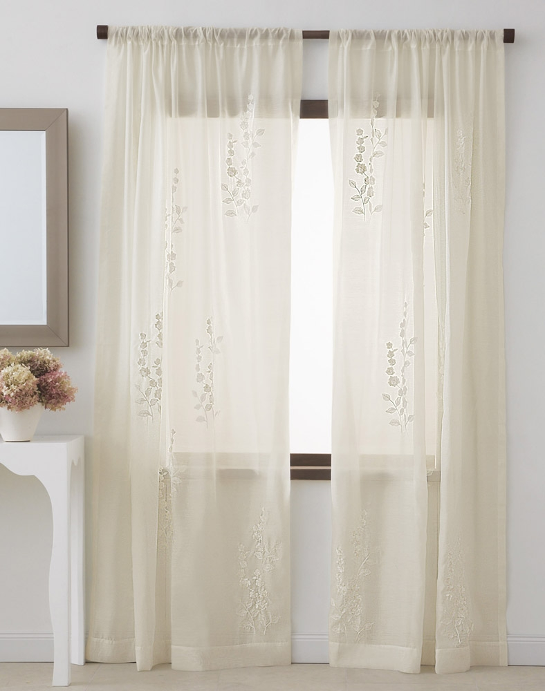 Dkny Rosette Sheer Window Curtain Panel Curtainworks Within Sheer White Curtain Panels (Image 9 of 25)