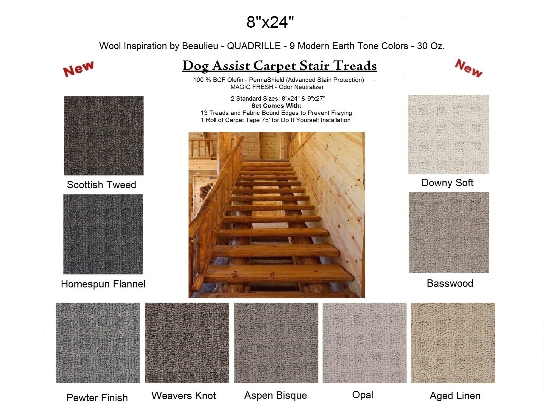 Dog Assist Carpet Stair Treads Regarding Fabric Stair Treads (Image 7 of 15)