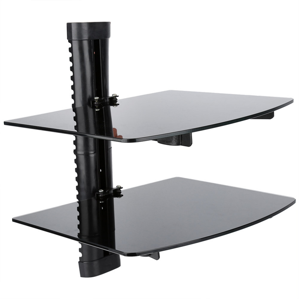 Doubletriple Wall Mountable Shelf Floating Black Glass Bracket Regarding Floating Black Glass Shelf (Photo 10 of 15)