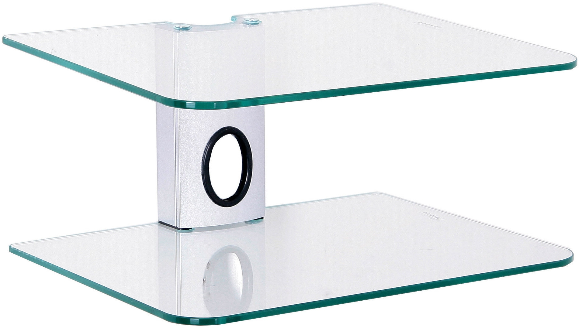 Dvd Mount 2 Clear Floating Glass Shelves Dvd Bracket Silver With Regard To Clear Glass Floating Shelves (Image 5 of 15)