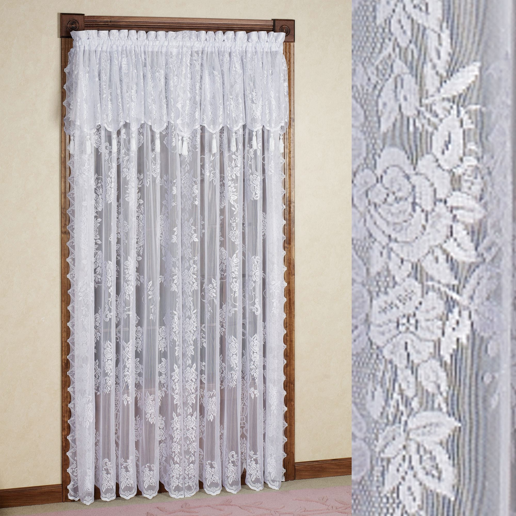 Easy Style Carly Lace Curtain Panel With Attached Valance Within Lace Curtain Sets (View 6 of 25)