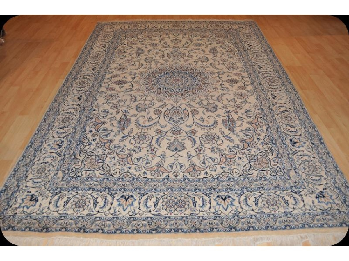 Elegant Beige Blue Finely Woven Handmade Persian New Rug Wool Silk Pertaining To Wool Blue Rugs (Image 7 of 15)