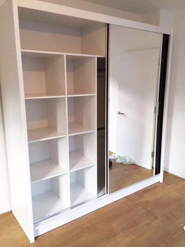 Elegant Double Sliding Mirror Wardrobe White 2 Door Slider With Throughout Double Rail Wardrobe (Image 8 of 15)