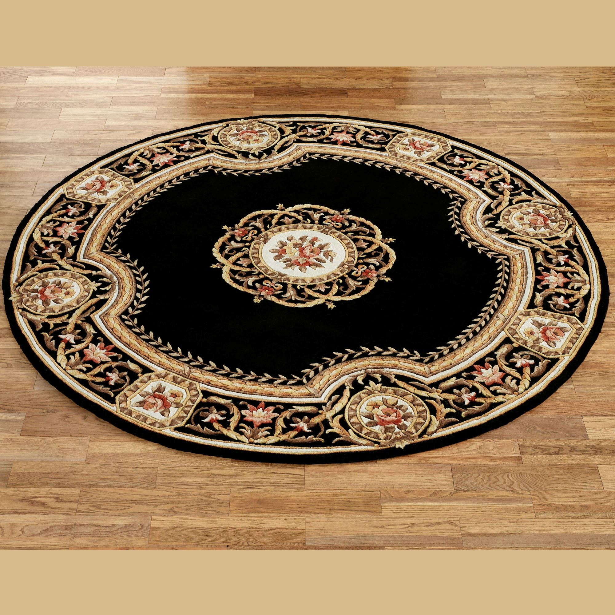 Elegant Medallion Round Wool Area Rugs With Regard To Round Wool Rugs (Image 6 of 15)