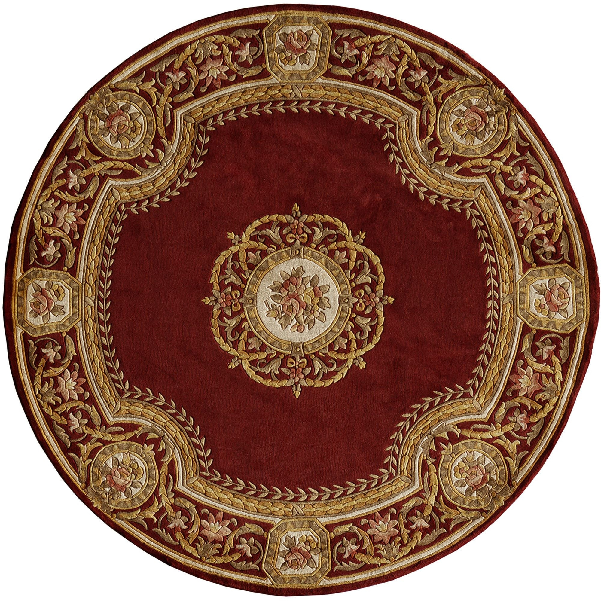 Elegant Medallion Round Wool Area Rugs With Round Wool Rugs (Image 7 of 15)