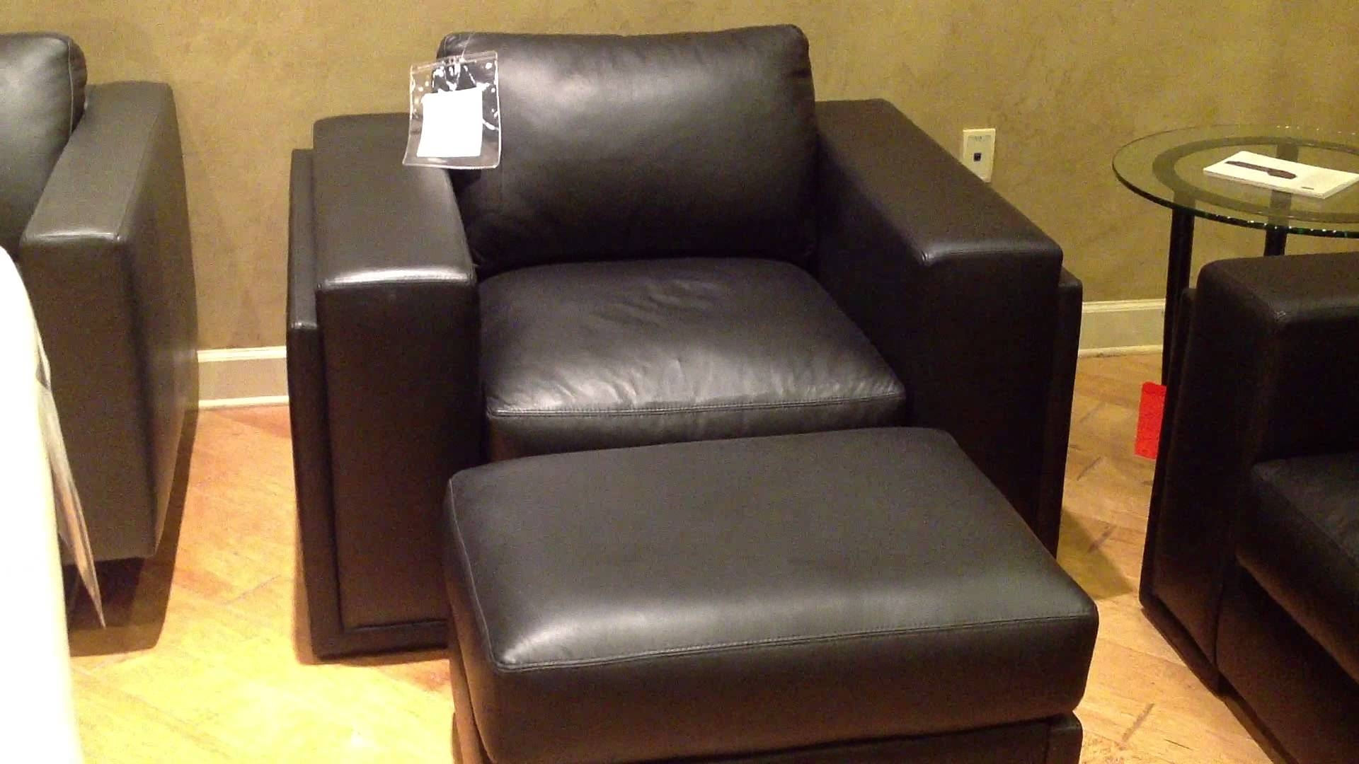 Elite Leather Milan Sofa Chair Ottoman Youtube With Sofa Chair And Ottoman (Image 9 of 15)