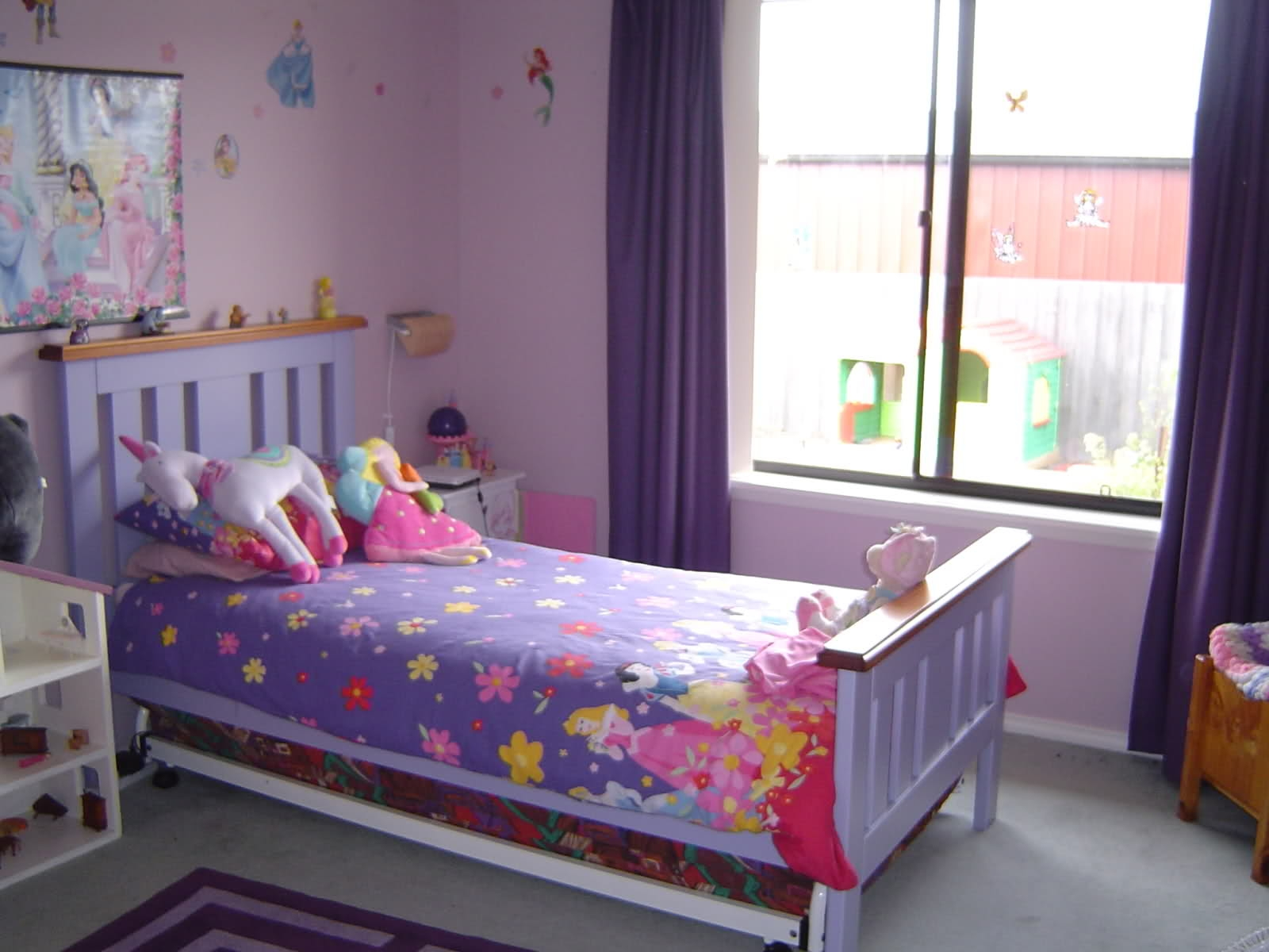 Enchanting Small Bedroom And Study Room And Pop Chairs Also Sweet In Purple Curtains For Kids Room (Image 13 of 25)