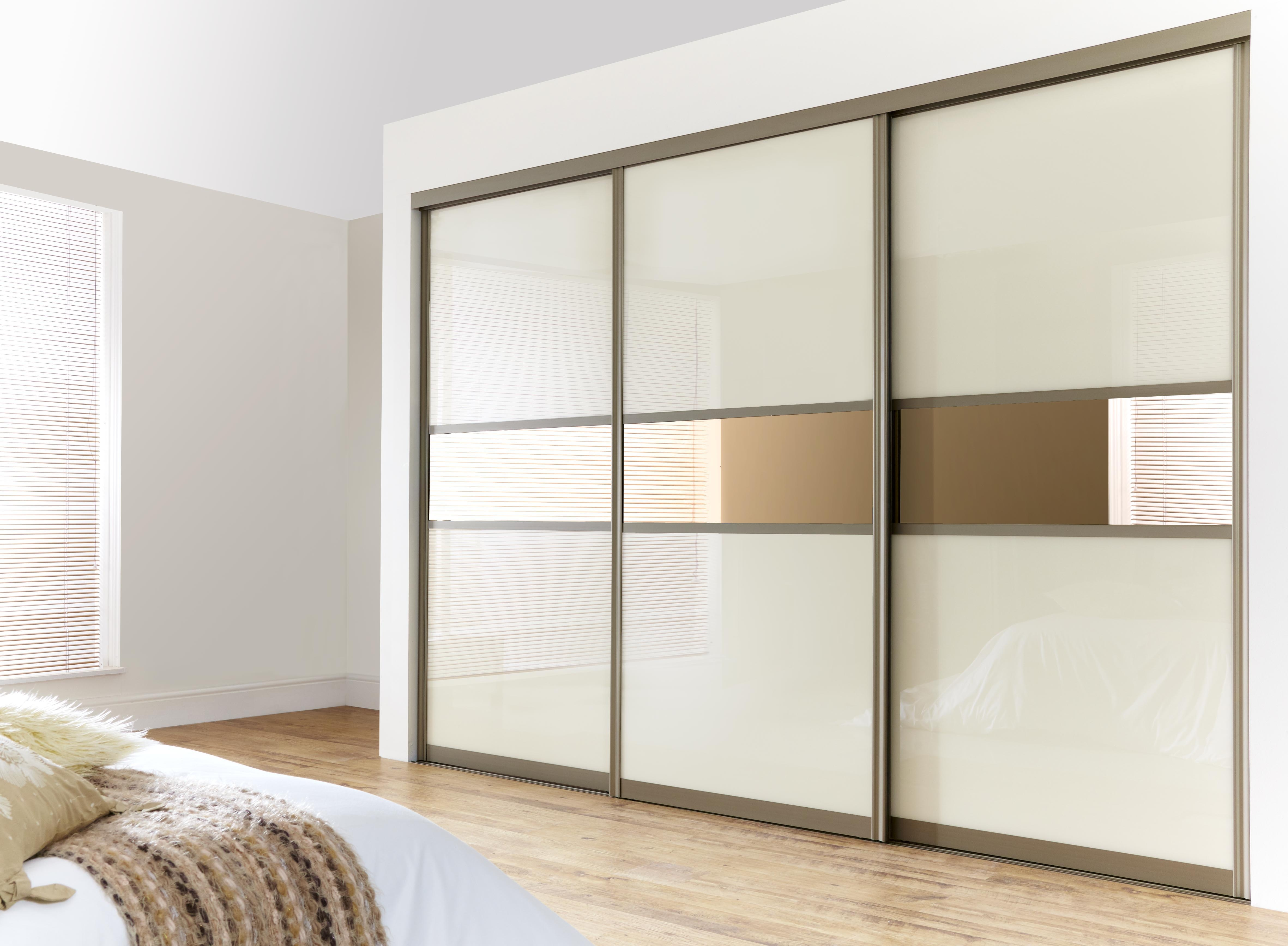 Enchanting Three Sliding White Gloss Acrylic Wardrobe Closet Door Inside Sliding Door Wardrobes (Image 4 of 25)