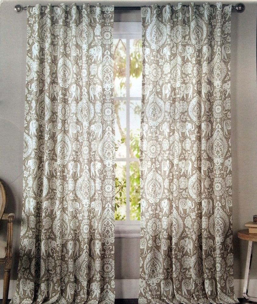 Envogue Tan Elephant Medallions Window Curtain Panels Set Of 2 For Asian Curtains Drapes (Image 14 of 25)
